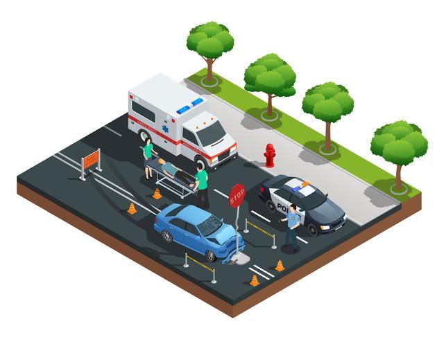 Composition isométrique des accidents de voiture vecteur