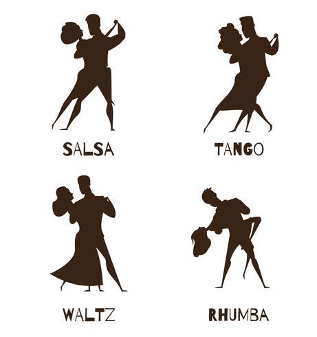 Dancing Couples Black Retro Cartoon Icons vecteur