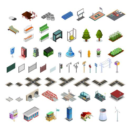 Collection d'éléments isométriques de City Map Constructor vecteur