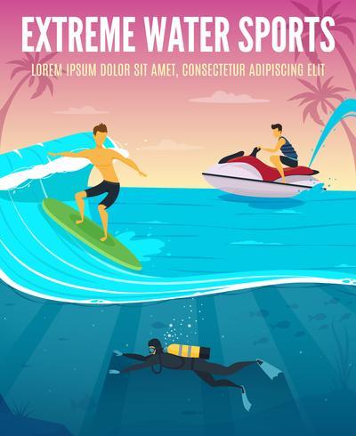 Affiche de composition à plat pour sports nautiques extrêmes vecteur