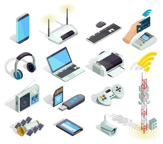 Ensemble d'icônes isométrique de dispositifs de technologie sans fil vecteur