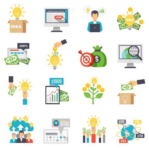 Crowdfunding Set d'icônes décoratifs vecteur
