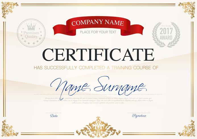 Modèle de certificat d'achèvement vecteur
