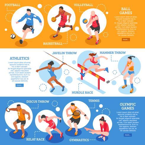 Bannières horizontales isométriques de sportifs vecteur