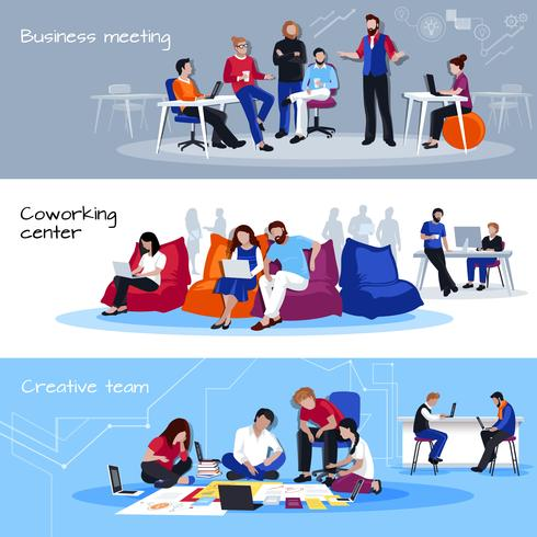 Coworking personnes plates bannières horizontales vecteur