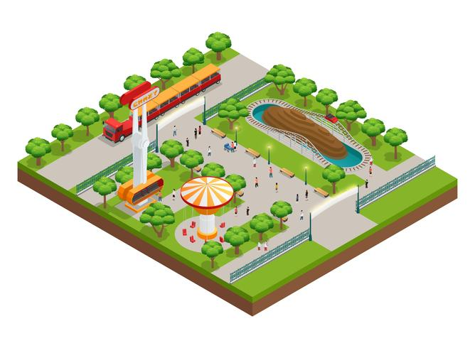Concept isométrique de parc d'attractions vecteur