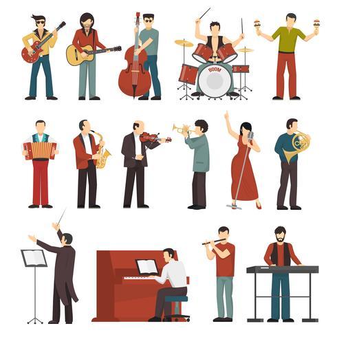 Musiciens couleur Icons Set vecteur