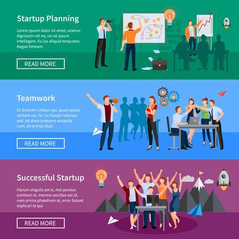 Ensemble de bannières plats Startup People vecteur