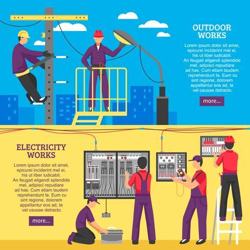 Personnes faisant des travaux électriques bannières horizontales vecteur