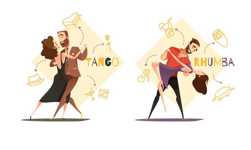 Paires de danse 2 modèles de dessins animés rétro vecteur
