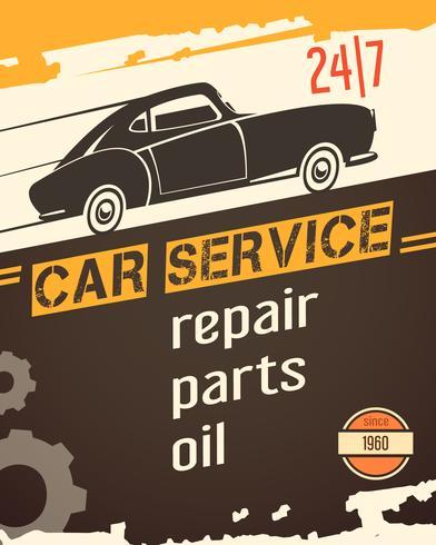 Auto Service Vintage Style Poster vecteur