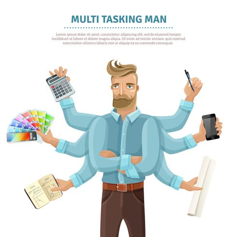 Affiche plat homme multitâche vecteur