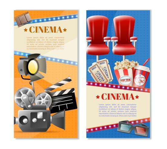 Ensemble de bannières verticales Cinema 2 vecteur