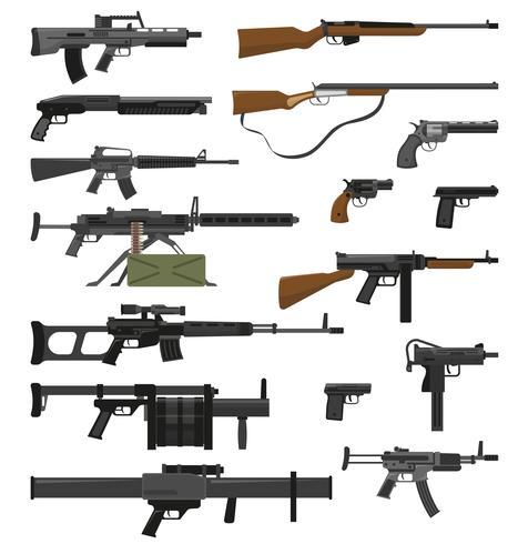 Ensemble d'armes à feu d'armes vecteur