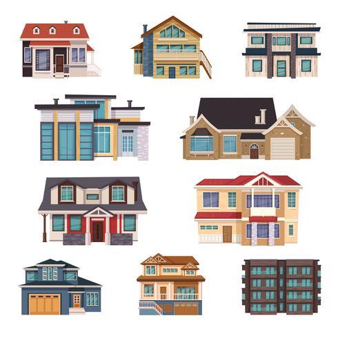 Collection de maisons de banlieue vecteur