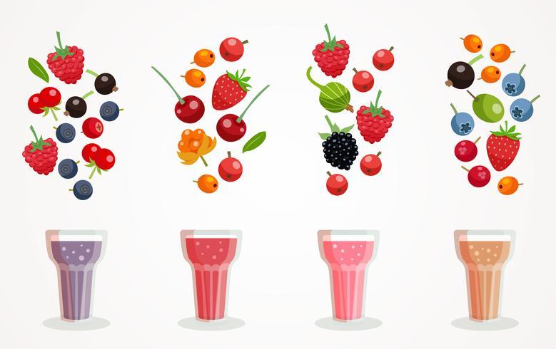 Berry Smoothies Set vecteur