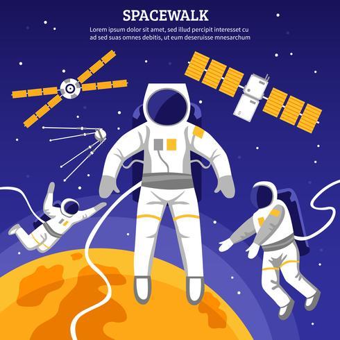 Illustration d'astronautes plats vecteur
