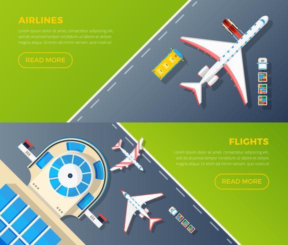 Ensemble de bannières horizontales vue de dessus d'aéroport vecteur