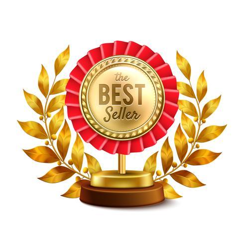 Meilleure vente Design réaliste médaille d'or vecteur