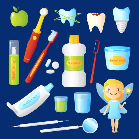 Ensemble de soin des dents vecteur