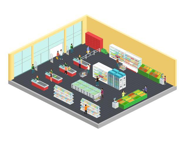 Composition isométrique de supermarché vecteur