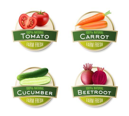 Collection d'étiquettes rondes de légumes frais à la ferme vecteur