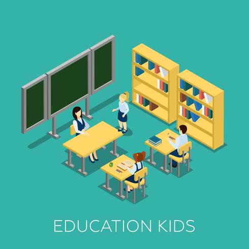 Illustration isométrique de l'éducation vecteur