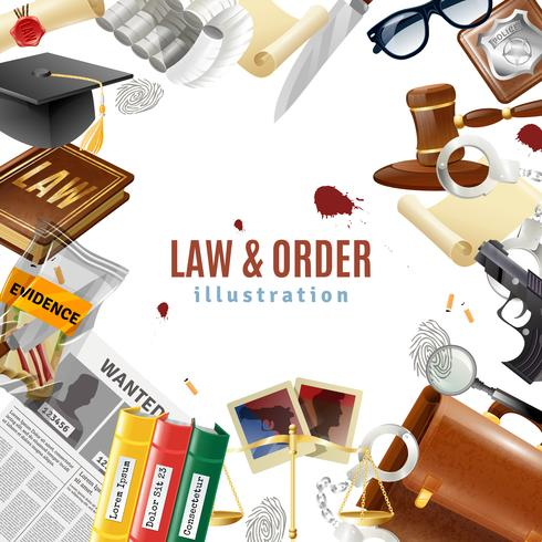Affiche de composition de cadre de loi et d'ordre vecteur