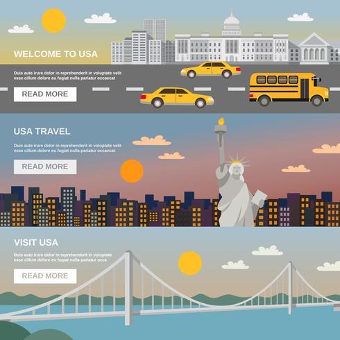 Information sur les bannières plates USA TRavel vecteur