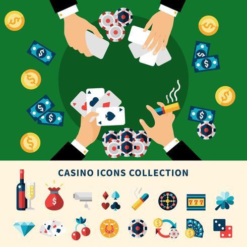 Composition à plat Casino Collection Icons vecteur