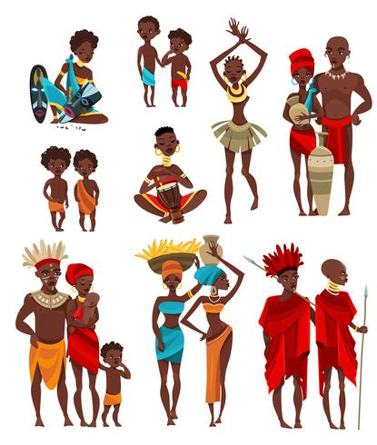 Collection d'icônes plat de vêtements africains vecteur