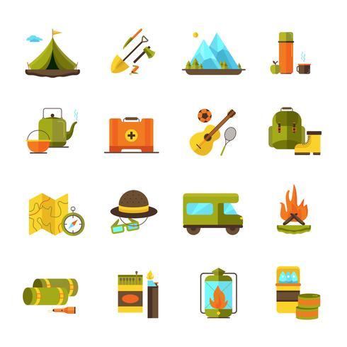 Camping Randonnée Aventure Plat Icons Set vecteur