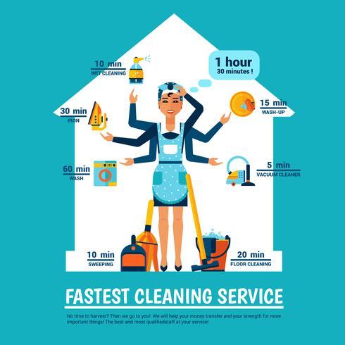 Femme, nettoyage, vecteur, illustration vecteur