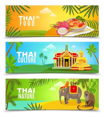 Thaïlande bannières horizontales vecteur