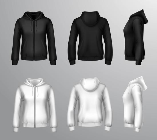 Sweats à capuche femme noir et blanc vecteur