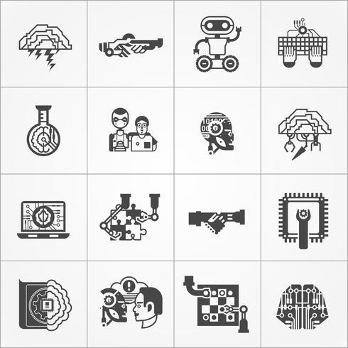 Intelligence artificielle noir blanc Icons Set vecteur