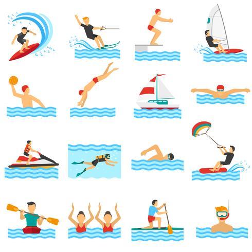 Icônes décoratives de sport de l'eau vecteur