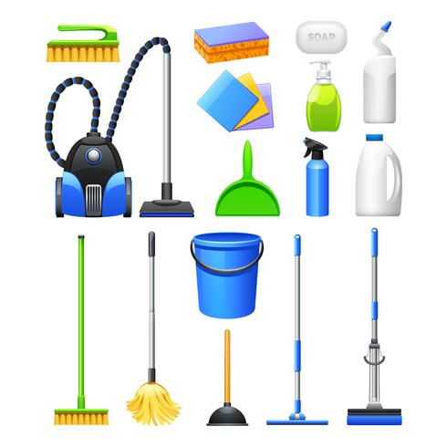 Kit d'équipement de nettoyage ensemble d'icônes plat vecteur