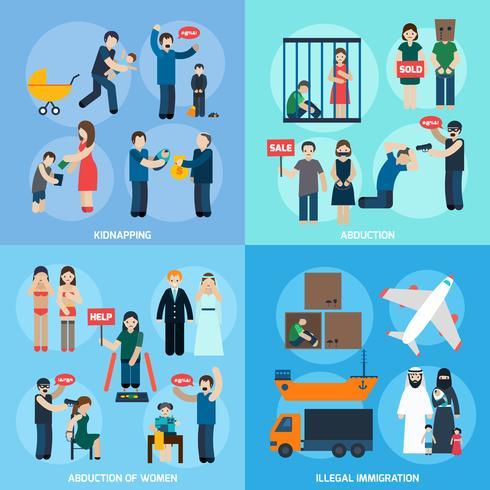Trafic d'êtres humains 4 icônes plates carrés vecteur