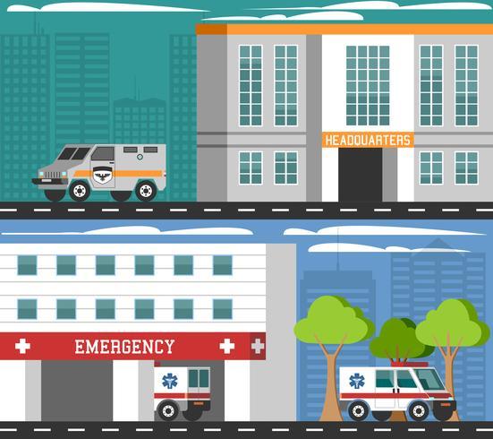 Ensemble de bannières plates de véhicules de services d'urgence vecteur