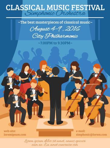 Affiche plate du festival de musique classique vecteur