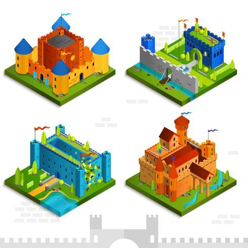 Collection isométrique de châteaux médiévaux vecteur