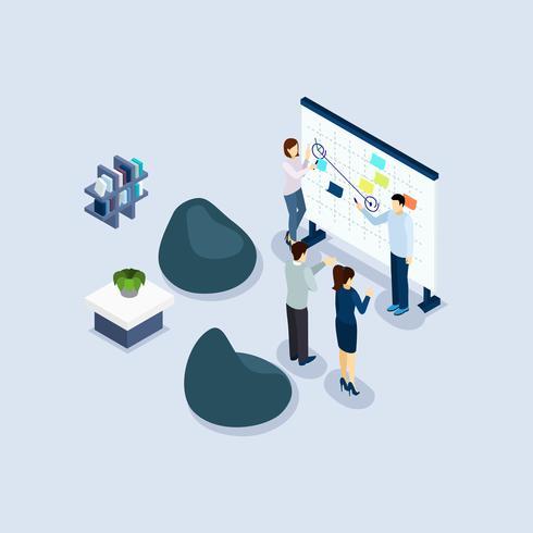 Bannière isométrique de bureau de l'environnement de coworking environnement vecteur