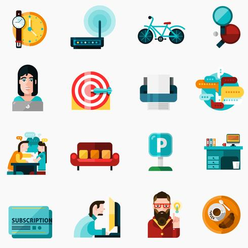 Coworking Icons Set vecteur