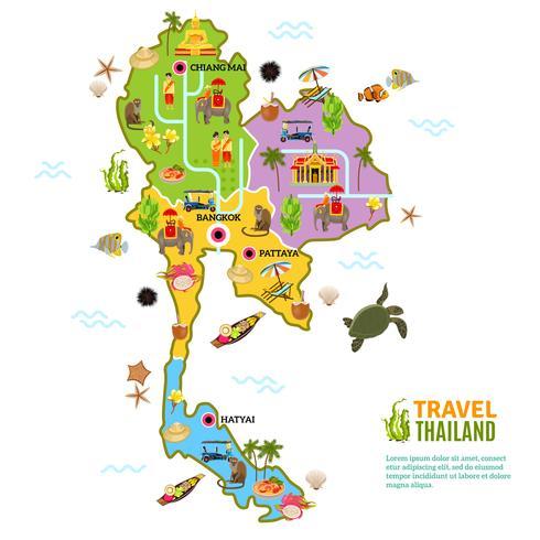Affiche de carte de la Thaïlande vecteur