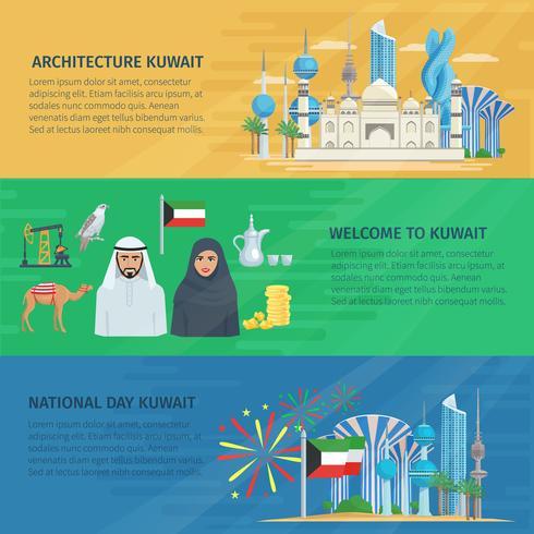 Koweït Bannière Horizontal Set vecteur