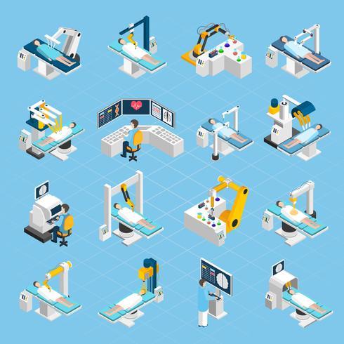 Chirurgie robotique isométrique Icons Set vecteur