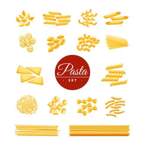 Ensemble réaliste d'icônes de pâtes traditionnelles italiennes vecteur