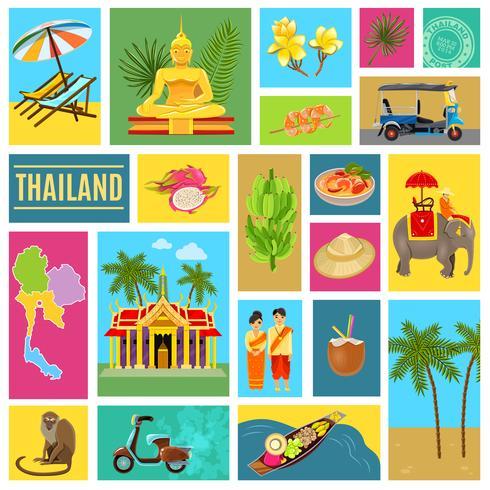 Affiche de la Thaïlande en mosaïque vecteur