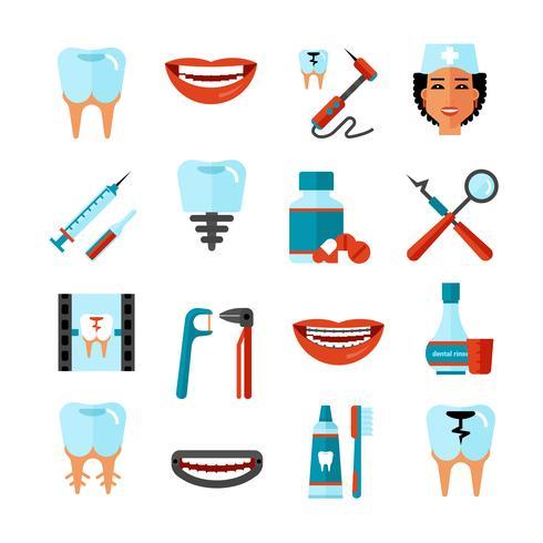 Jeu d'icônes de soins dentaires vecteur
